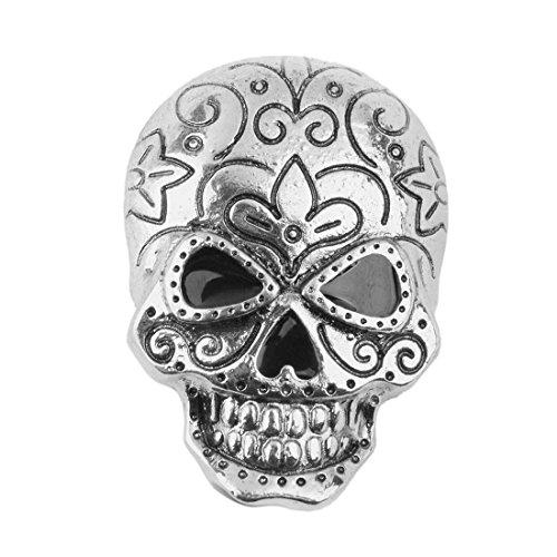 Totenkopf Brosche - SODIAL(R)Schaedel Brosche Dekoration Fuer Halloween Party Bevorzugung Geschenk Antikes Silber