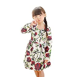For 1-7 Years old Girls,Clode® 2016 Fashion Kids Toddler Girl Long Sleeve Rose Print Princess Dress Christmas Long Sleeve Party Dress