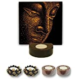 TYYC Diwali Gifts Poised Lord Buddha Tealight Holder Diwali Decoration Candle Lights For Puja, Home, Office Set Of 5