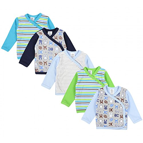 TupTam Baby Jungen Langarm Wickelshirt Baumwolle 5er Set, Farbe: Mehrfarbig 1, Größe: 50