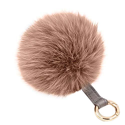 Kunstfell-elefant Tasche (AchidistviQ Fashion Weiches Kunstfell Ball Schlüsselanhänger Auto Schlüssel Halter Damen Tasche zum Aufhängen Anhänger Khaki)