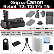 Professional Vertical EOS Rebel T2i T3i T4i T5i Multi-Purpose Battery Grip for Canon EOS Rebel T2i T3i T4i T5i DSLR Camera + LP-E8 Long Life Batteries + AC/DC Turbo Charger With Travel Adapter + Universal Wireless Remote + All-In-One Card Reader + Complete Deluxe Starter Kit (BG-E8 BGE8)