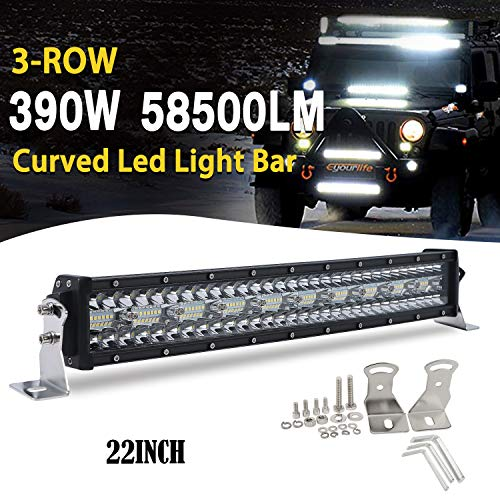 CO LIGHT 22 inch curved led light bar 390W Triple Row Super Bright Led Offroad Work Light Bar Driving Lights Spot Flood Combo Beam for 4x4 Truck ATV UTV SUV 12V 24V