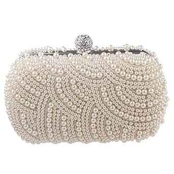 Yafex Party Clutch Bags Faux Pearl Beaded Bridal Handbag Wedding Evening Band Purse GZ247 (Beige)