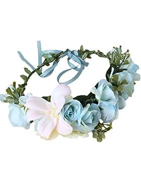 Cereoth Guirnalda de flores Rose Lily Diadema de guirnalda de corona floral para boda