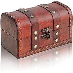 Brynn Montaña Madera baúl | Modelo: Cofre del Tesoro Hamburgo | Cofre del Tesoro Vintage de | hecha a mano únicas, diseño antiguo, 17x 10x 10cm | Medieval | Cofre del Tesoro Pirata | Madera Marrón | Hucha | Joyero