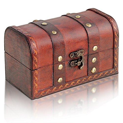 Brynnberg Caja de Madera Cofre del Tesoro Pirata de Estilo Vintage   H