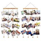 Homemaxs Family Bilderrahmen Fotowand, Bilderrahmen Collage Fotorahmen Holzbilderrahmen mit 40 Kleinen Holzklammern und 8 Fotoseil für Foto, Bilder, Postkarten, Holz/Buche