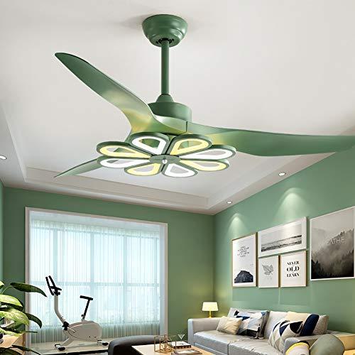 Deckenventilator, 132 cm, einfach, leise Ventilator, LED, für Zuhause, Wohnzimmer, Restaurant, Fernbedienung, Europäischer Ventilator Modern Größe grün