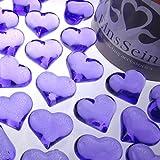 30x Dekosteine FUNKELNDE Herzen 22mm EinsSein® lila Dekoration Streudeko Konfetti Tischdeko Hochzeit