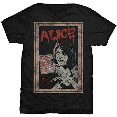 Alice Cooper Vintage Poster Live Rock ufficiale Uomo maglietta unisex (Large)