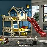 WICKEY Etagenbett CrAzY Circus Kinderbett Hochbett mit Rutsche, Dach und Lattenboden, blaue Plane + rote Rutsche, 90x200 cm