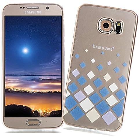 Funda Samsung Galaxy S6 XiaoXiMi Carcasa Transparente de Silicona Clear Soft TPU Silicone Case Cover Bumper Funda Protectora Carcasa Blanda Caso Suave Flexible Caja Delgado Ligero Casco Anti Rasguños Anti Choque Funda con Patrón de Diseño único para Samsung Galaxy S6 - Cuadrados Blancos Azules