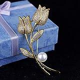 DJDG spilla Spilla Femminile Accessori Tulipano Cappotto Cardigan Fiore All'Occhiello Spilla Spilla Coperta Sciarpe Scialle Clip Regalo di Natale