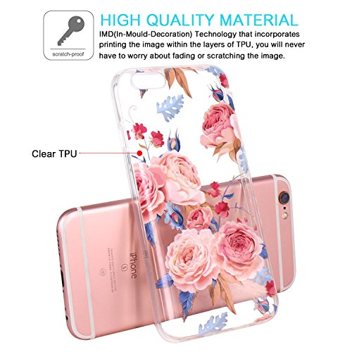 Coque iPhone 6, JIAXIUFEN TPU Coque pour Apple iPhone 6 6S Silicone Étui Housse Protecteur - White Flower Mandala Noble Pink Blue Rose