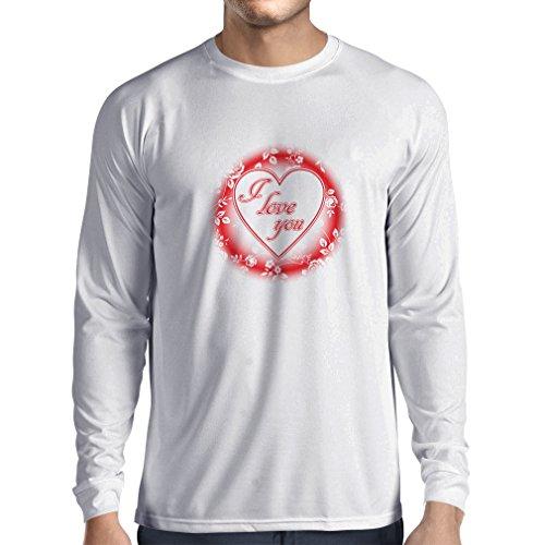 T-Shirt mit langen Ärmeln Ich liebe dich ! (Large Weiß Mehrfarben)