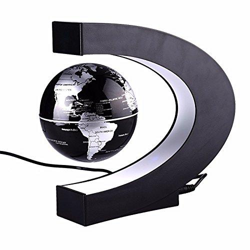 zantec Globe U-Form Magnetic Levitation Globe LED Nacht Licht Weihnachten Geburtstag Geschenk Home Office Dekoration Englisch Silber Schwarz UK-Stecker (Kunststoff Globe Lampe)