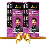 VCare Shampoo Hair Color, Black, 180 ml, (Pack Of 2)