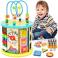 WloveTravel Wooden Activity Cube Bead Maze 10 in 1 Multi-purpose Educational Toys for Baby Kids Children Toddlers