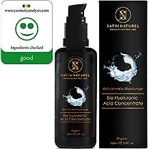 BIO Concentrado en sérum de ácido hialurónico en calidad ECOLÓGICA 100 ml TAMAÑO DOBLE / Gel hiaulurónico altamente dosificado antiedad / HECHO EN ALEMANIA / OFERTA DE LANZAMIENTO / La más alta calidad / Frasco de vidrio con protección lumínica: con zumo directo de aloe vera 100 % ecológico como base / Cosmética natural vegana para la piel, el cuello, los ojos y el rostro / GARANTÍA DE DEVOLUCIÓN DEL DINERO / Apto para cualquier tipo de piel antiarrugas para el cuidado del rostro