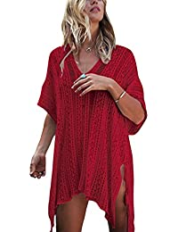 Wander Agio Beach Swimsuit for Women Sleeve Coverups Bikini Cover Up Net Slit Red