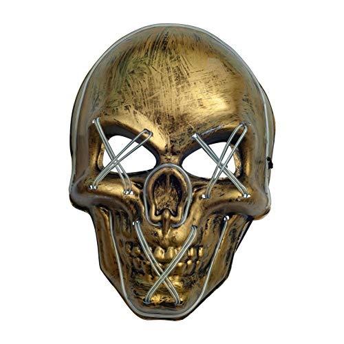 LED Maske LED Licht Cosplay Maske Horror Leuchtmaske mit Kaltlichtquelle Halloween Furchterregende Leuchtmasken für Festivals Tanzpartys Kostüm für Halloween Party (Keine Furchterregende Kostüm)