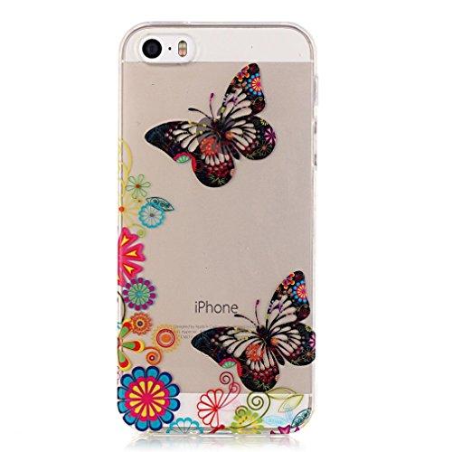 SZHTSWU 2 x Hülle für iPhone 5/iPhone 5s/iPhone 5SE, Ultra Slim Thin Weiche TPU Ultradünn Silikon Schutzhülle Case Farbmalerei Serie Bunte Muster Durchsichtig Transparent Clear Flexible Rückschale Bac Blumen Schmetterling Hochhackige Schuhe 11