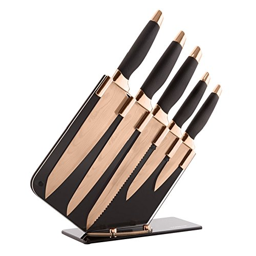 Tower T81532RD Damascus Effect Knife Set with Stainless Steel Blades and Acrylic Stand, 5-Piece, Rose Gold and Black