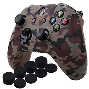 YoRHa Wassertransferdruck Silikon Hülle Abdeckungs Haut Kasten für Microsoft Xbox One X & Xbox One S Controller x 1 (Wüste) Mit PRO aufsätze Thumb Grips x 8