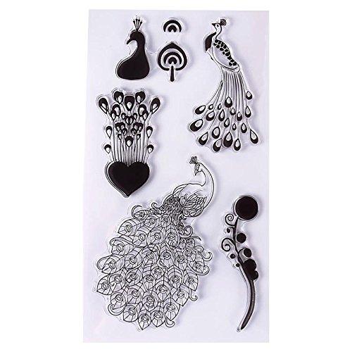 Calistouk Transparenter Stempel Herz Stempel Set für Sammelalben Fotoalben zum Basteln als Dekoration,Pfau