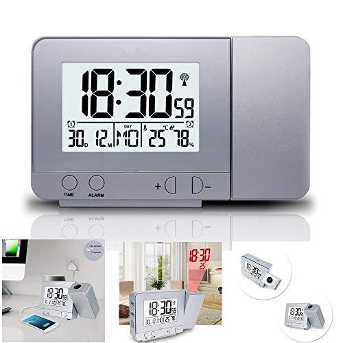 XxSmile LCD Projektionswecker Digital Wecker Reisewecker mit Temperatur Dimmer Snooze USB-Ladeanschluss zum Schlaf-Zimmer Kinder-Zimmer(Weiß)