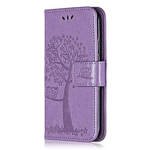 Cover per Samsung Galaxy S5 Mini, Bear Village® Custodia Galaxy S5 Mini in Pelle, Goffratura Chiusura Magnetica Flip Custodia con Gratuito Pellicola Vetro Temperato (#3 Viola)