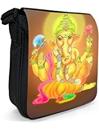 Hindu God Ganesh Holding Flower Wearing Garland Small Black Canvas Shoulder Bag / Handbag