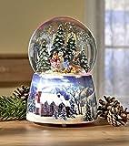 GKA XL Schneekugel und Spieluhr mit Musik und RGB LED Farbwechsel Winterdorf Licht 15 cm Keramik Glas Weihnachten Advent Winter