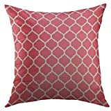 KENETOINA Decorative Throw Pillow Cover for Couch Sofa,Pink Abstract from Madrid Love Lettering for Developing City Tourism Amour Home Decor Pillow Case 18x18 Inch