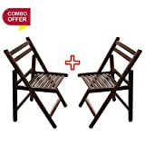 A10 Shop Delta Solid Wood Outdoor Folding Chairs (Set of 2) for Garden, Patio, Balcony or Deck - Walnut Finish -Combo offer!