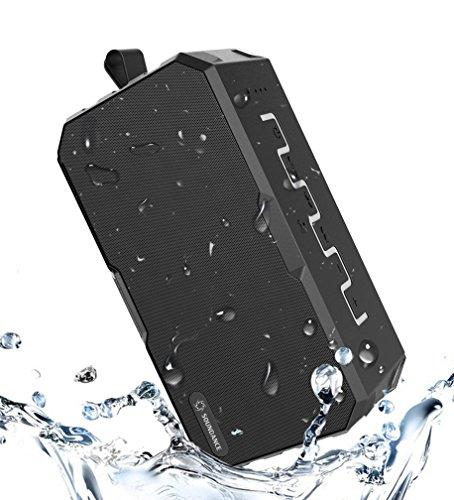 Soundance Wasserdichter Outdoor Bluetooth Lautsprecher, 12 H Lange Spielzeit, Spritzwassergeschützt Staubdicht Wetterfest Tragbar für Reise Camping Dusche, F5 Schwarz Grau