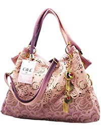 Women's Tote Bag With Shoulder Strap, Hollow Out Faux Leather Tote Purse Shoulder Handbag With Dangles By C&L