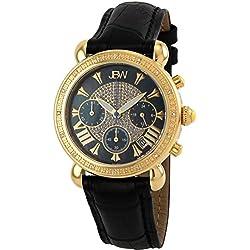 "Just Bling Ladies JB-6210L-F ""Victory Combo Black"" Leather Diamond Watch"