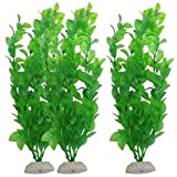 Muamaly Kunststoff Künstliche Gras Dekoration Wasser Aquarium,3-Piece Aquarium Aquarium Fish Tank Plants Decorative 10.6-Inch Green