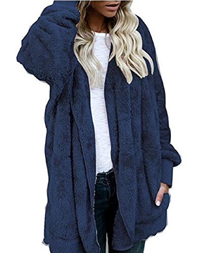 Rera Damen Winter Plüschjacke Warm Winterjacke Steppjacke Outwear Cardigan Langarm Teddy-Fleece Parka Kapuzenjacke Trench Coat (Langarm Teddy)