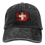 Osmykqe Flagge der Schweiz zerfledderter Erwachsenensport Verstellbarer strukturierter Baseball-Cowboyhut XC8019