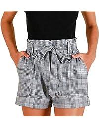 Sunenjoy Shorts Femmes Rayé Short de Jambe Large Pantalon Courte Taille Haute Été Casual Pantalons de Plage