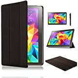 SAMAR® - Supreme Quality New Samsung Galaxy Tab S 10.5 inch Tablet (Released July 2014) Ultra Slim Black Case Cover Stand + [FREE HD Screen-Protector with cleaning cloth] [FREE Stylus] for Samsung Galaxy Tab S 10.5