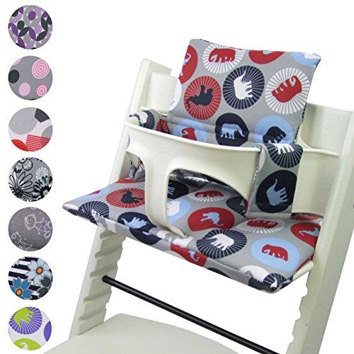 Babys-Dreams Sitzkissen Auflage Sitzkissenset für Stokke Tripp Trapp Hochstuhl *20 FARBEN* Ersatzkissen Kissen 2 teilig (Marine Elefanten) -