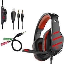 Beexcellent GM-3 Pro Auriculares para juegos con micrófono, luces LED y control de volumen Estéreo Over-Ear Bass Cancelación de ruido, para PS4 PS3 Xbox One, Laptop, PC, Tablet, la mayoría de los teléfonos inteligentes (Rojo)
