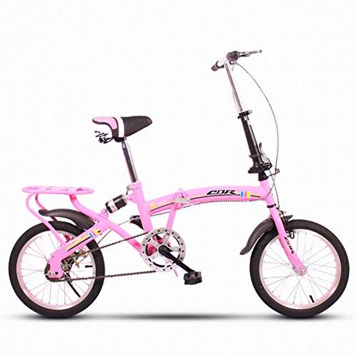 YEARLY Kinderfahrrad, Schüler klappräder Lightweight Mini Kleinen tragbaren Stoßdämpfende Männlich und weiblich Klappräder-Rosa 16inch