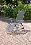 Relaxsessel 'Gjøvik', Stuhl mit 5-fach Verstellung und Fußteil, Gartenstuhl aus Streckmetall, witterungsbeständig und pflegeleicht, 58x77x109cm, eisengrau