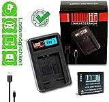 LOOKit Akku BLG10 E - 850mAh + LOOKit LCD USB Ladegerät (handy standard) für Panasonic DC TZ202 TZ81 TZ101 TZ81 GF6 GX7 GX80 LX100