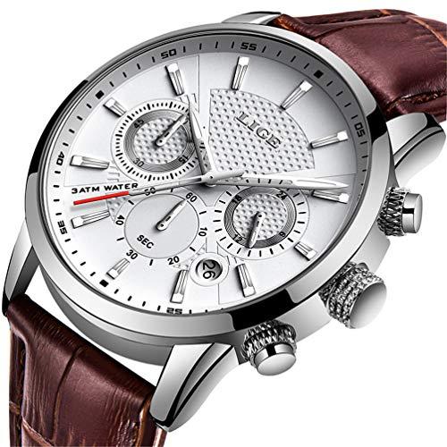 LIGE Relojes Hombre Simple Casual Moda Relojes Hombre Negocio Analógico Cuarzo Relojes Clásico Marrón Cuero Relojes